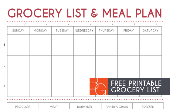 grocery list and meal plan printable