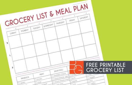weekly dinner planner with grocery list