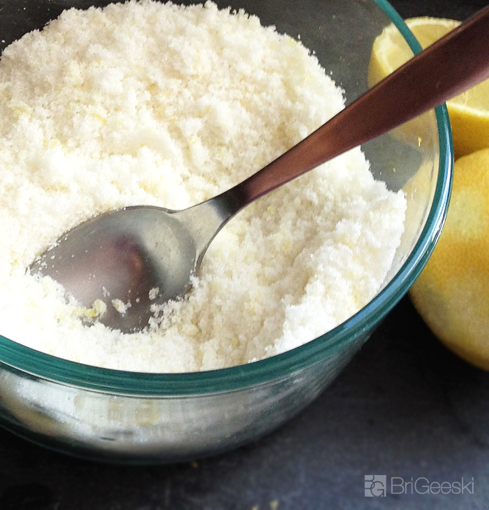 Mix the lemon peel with sugar