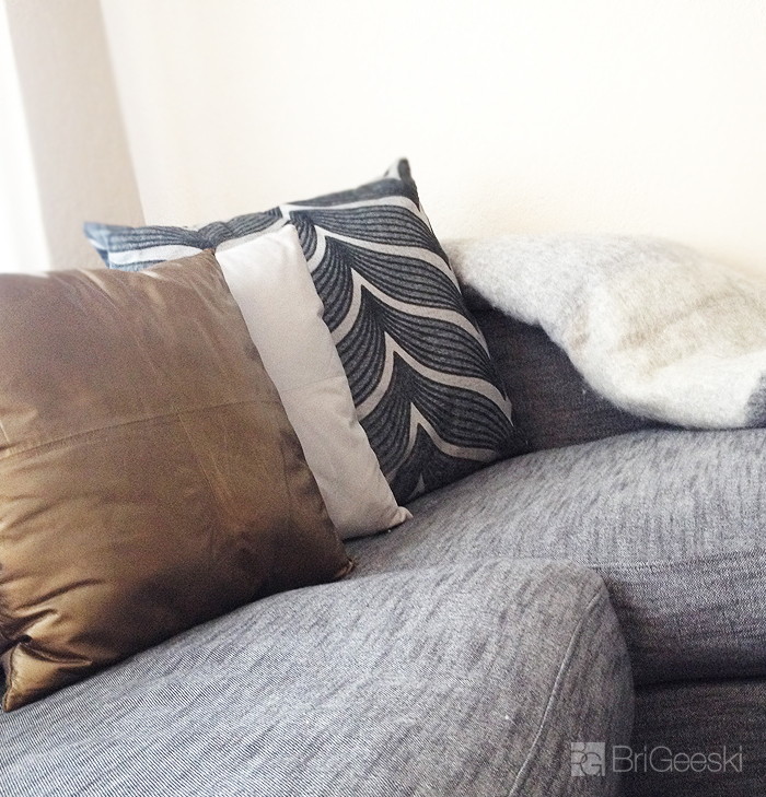 gold, grey, stripe pillows from BoConcept