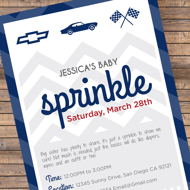 Chevy Sprinkle Baby Invitation Printable