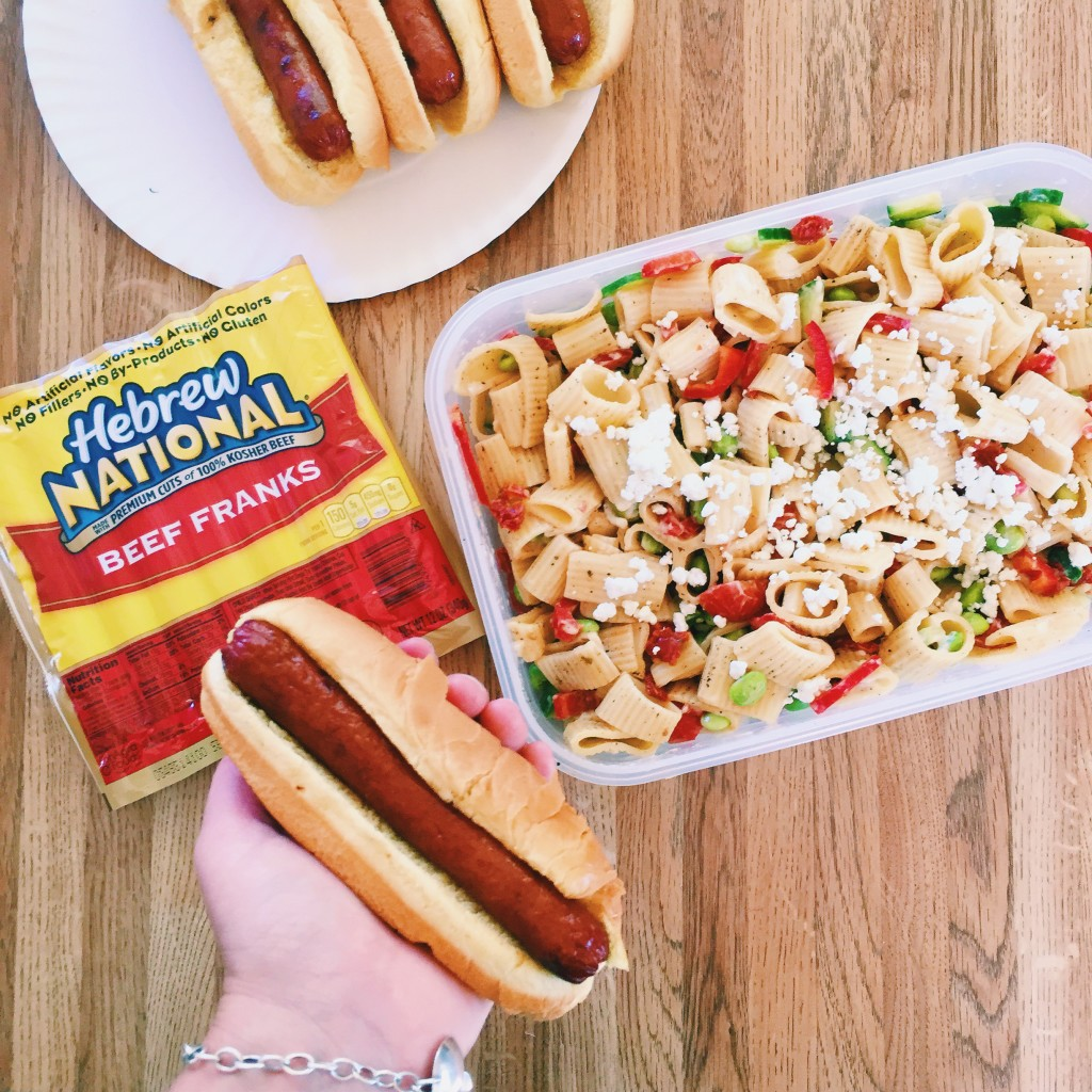 Fall Feta Pasta Salad with Grilled Hot Dogs