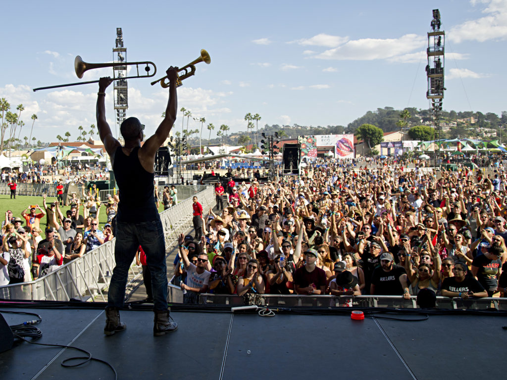 DEL MAR, CA - SEPTEMBER 20: Troy 'Trombone Shorty' Andrews performs during day 3 of KAABOO Del Mar at the Del Mar Fairgrounds on September 20, 2015 in Del Mar, California. (WireImage for KAABOO Del Mar via imageSPACE)