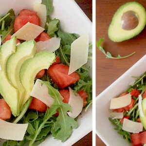 Watermelon, Arugula, Parmesan & Chicken Salad Recipe