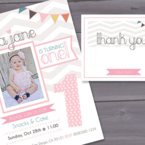 Vintage Girl First Birthday Party Invitation