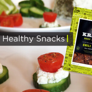Healthy snacks for game day. Cucumber tomato bites and Krave Jerky