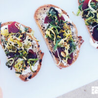 Bacon & Brussels Quinoa + Leeks & Beets Crostini