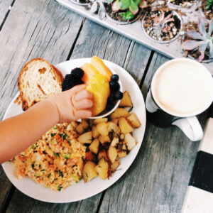 Smoked Salmon Scramble from Cafe Cantata and the Cafe Cantata Latte made with Chai