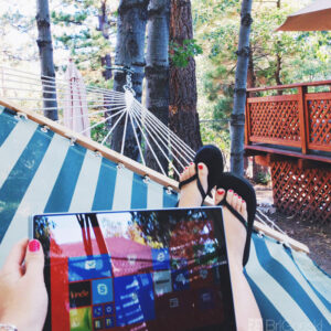 Working on the Road with the Intel 2 in 1 in Big Bear