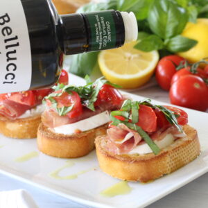Caprese Prosciutto Crostini with Lemon Aiioli