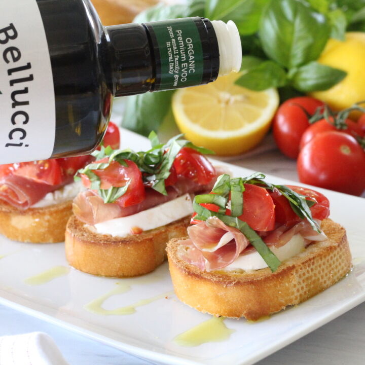 Caprese & Prosciutto Crostini with Lemon Aioli