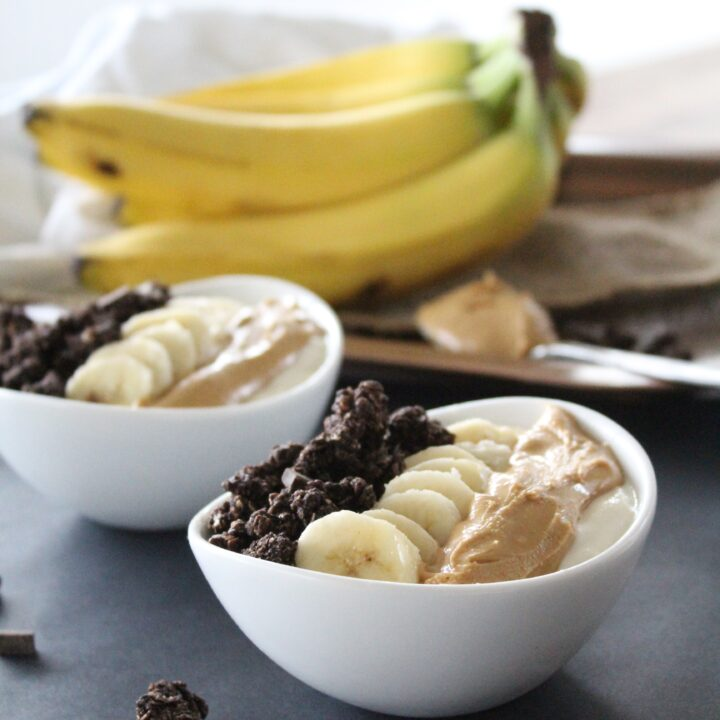 Chocolate Peanut Butter Banana Bowls