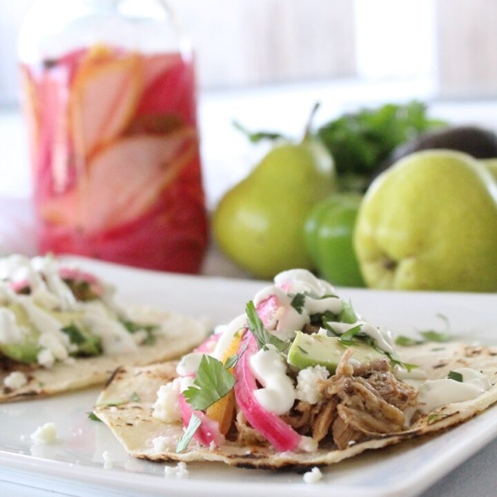 Pickled Pear Carnitas Taco With Jalapeno Crema