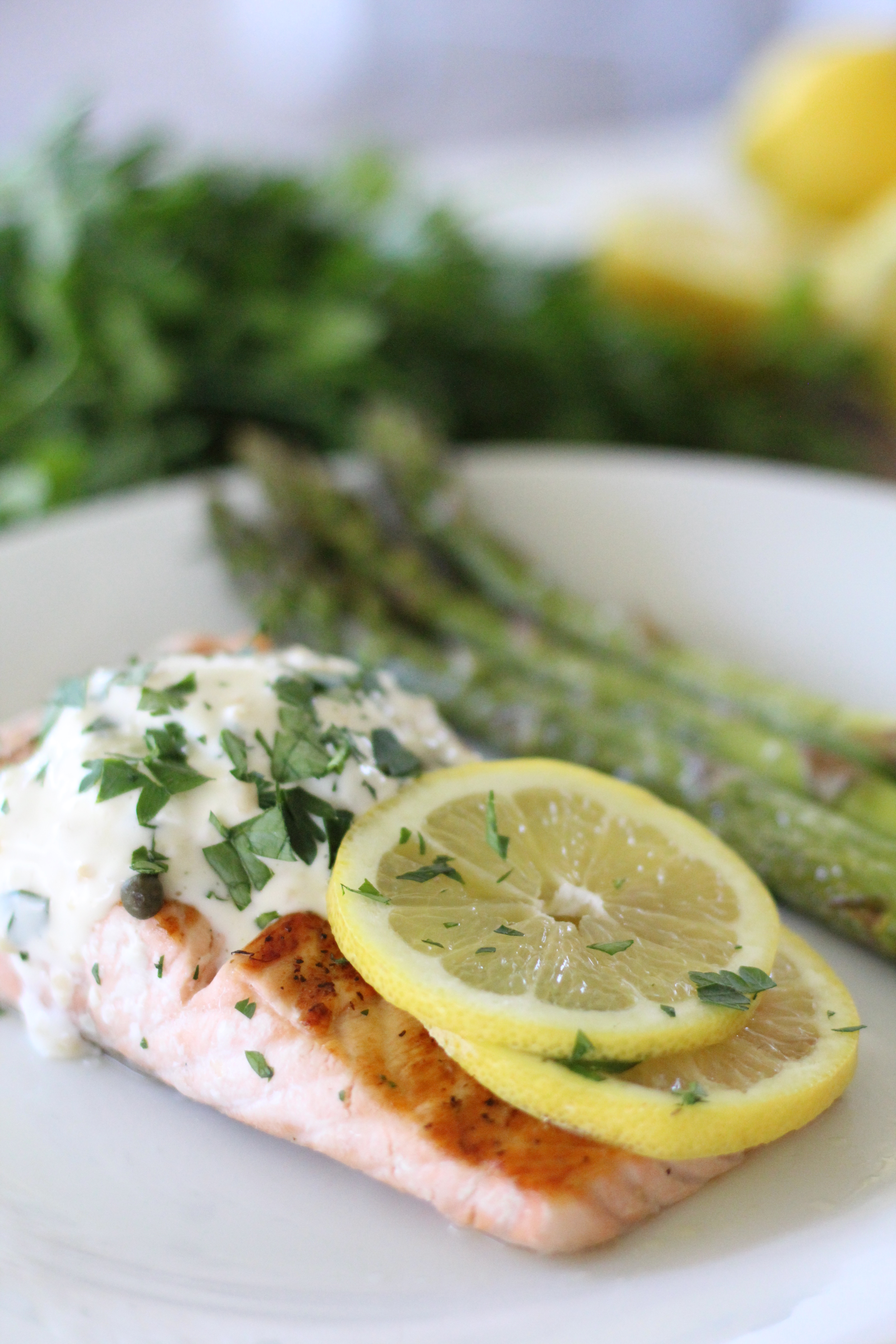 Pan seared Lemon and Herb Salmon with Garlic Aioli, herb goat cheese and asparagus