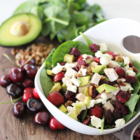 Cherry & Chicken Spinach Salad