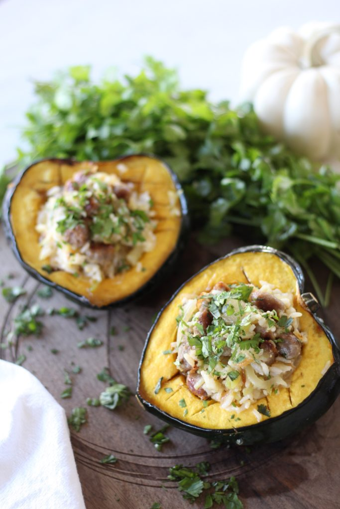 acorn squash stuffed with rice and zucchini