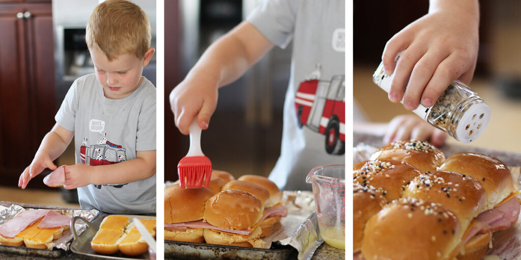 cooking sliders with kids