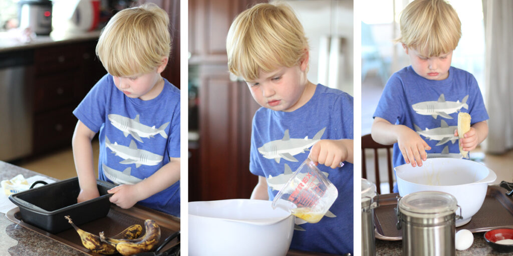 making banana bread with kids