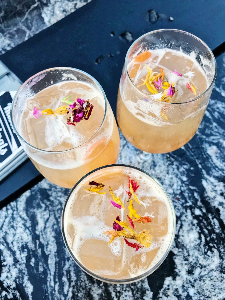 Flowers in the drinks