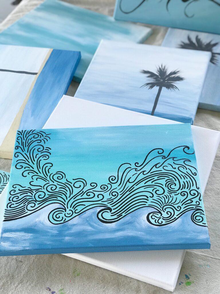 Waves Art Piece Art & Wine Wander