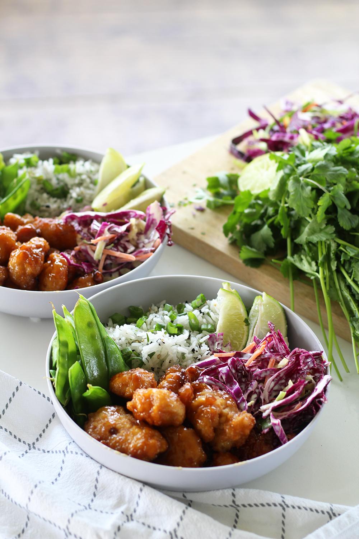 orange chicken and cilantro lime rice