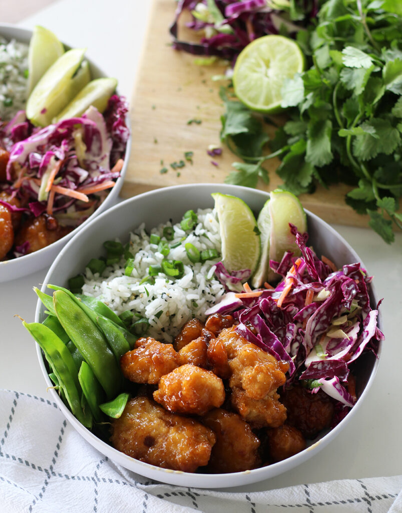 orange chicken bowls