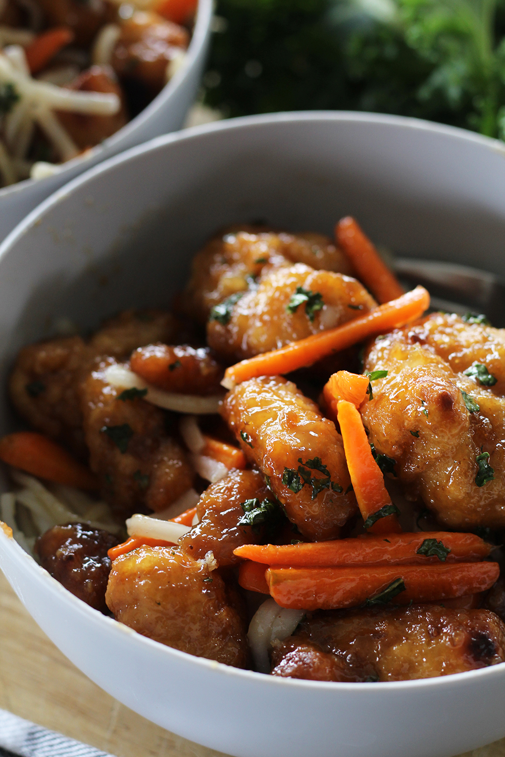 Orange Chicken with Noodles and Carrots