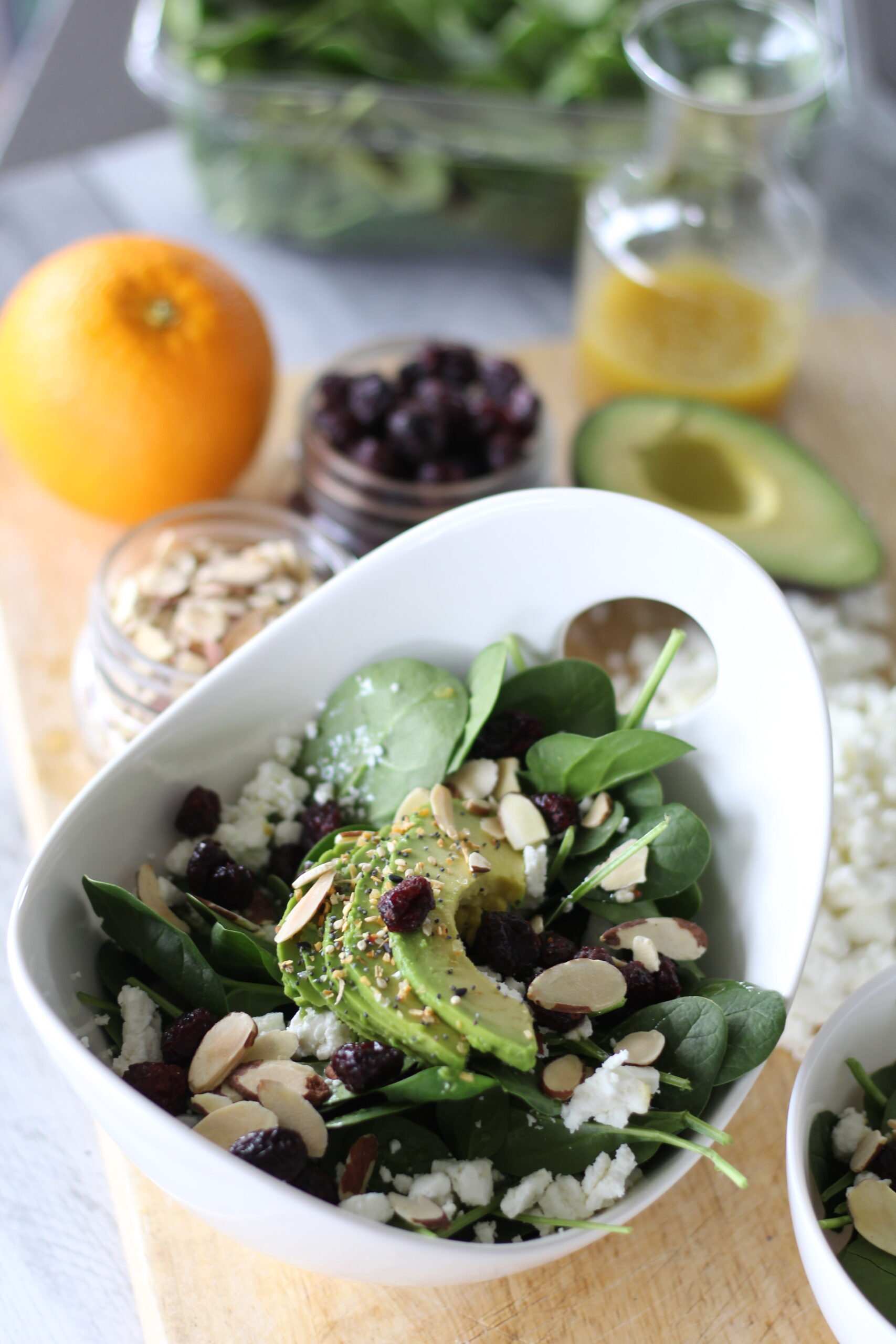 Everything Bagel Avocado Spinach Salad
